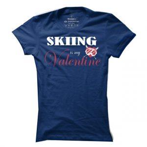 Dámské lyžařské tričko Skiing is my Valentine