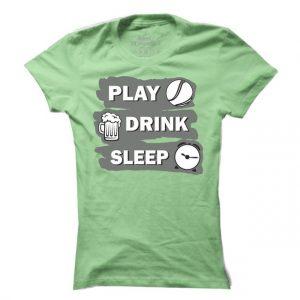 Dámské tenisové tričko Play drink sleep