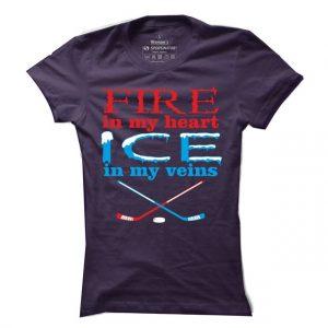 Dámské tričko na hokej Fire and ice