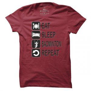 Pánské badmintonové tričko Eat sleep badminton repeat