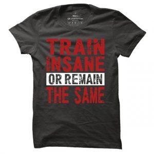 Pánské fitness tričko Train insane or remain the same